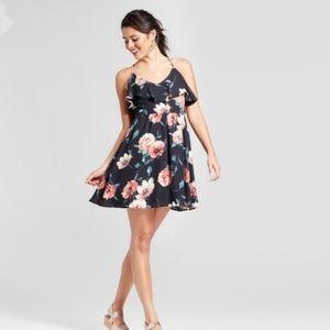 XHILARATION Flutter Fit & Flare Dress Black Floral